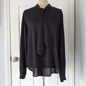 St. John Collection Black Silk TieNeck Button Down